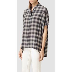 AllSaints Fleet Dean Shirt 100% silk hi low hem